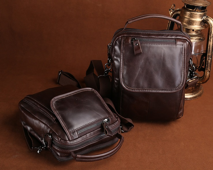 Clearance Price  Wax Leather Retro Men's Shoulder  Bag  Business Tote