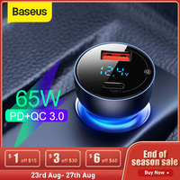 Baseus 65W USB Auto Ladegerät Schnell Ladung 3,0 Auto Ladegerät Für iPhone MacBook Samsung Laptop LED Display Schnelle Telefon ladegerät
