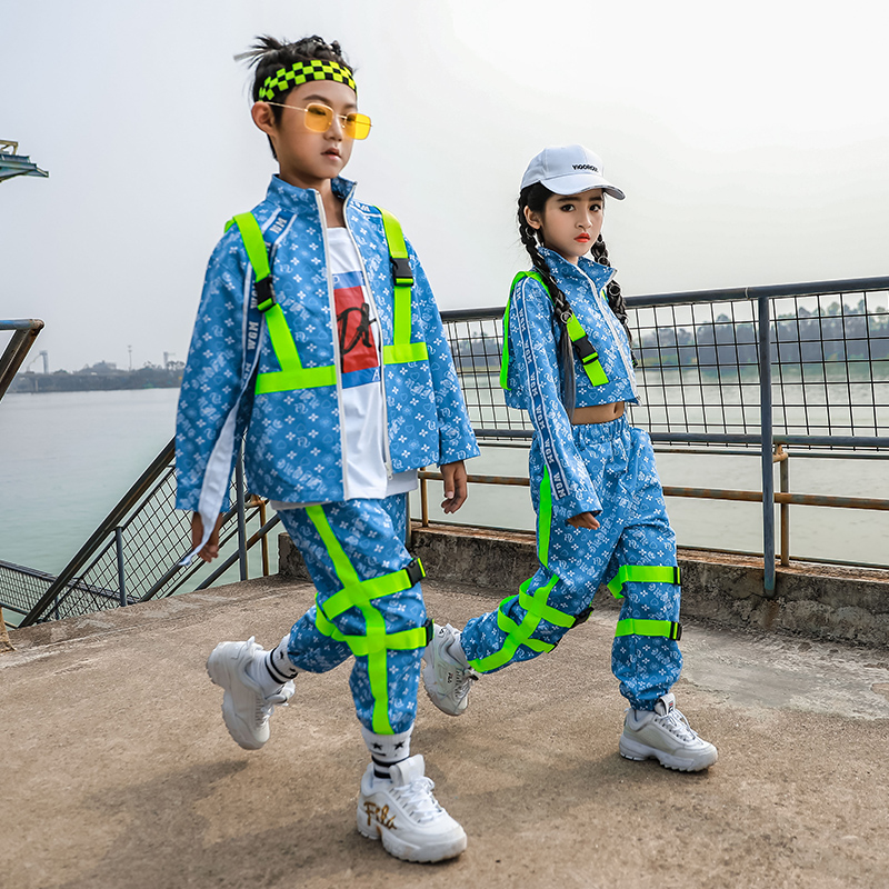 Hip Hop Costume Kids Blue Shirts Boys' HipHop Loose Pants Performance Outfit Girls' Jazz Dance Autumn Clothes For Children B1227