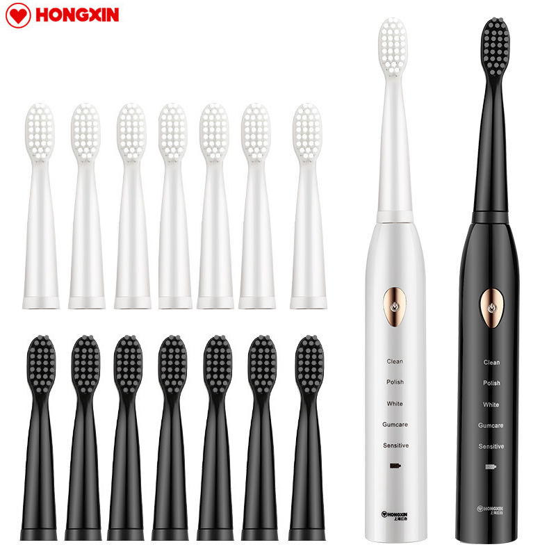 【HONGXIN】 Rechargeable Electric Toothbrush Automatic Sonic Toothbrush Electric Adult Mouth Cleaner Waterproof USB Toothbrush image