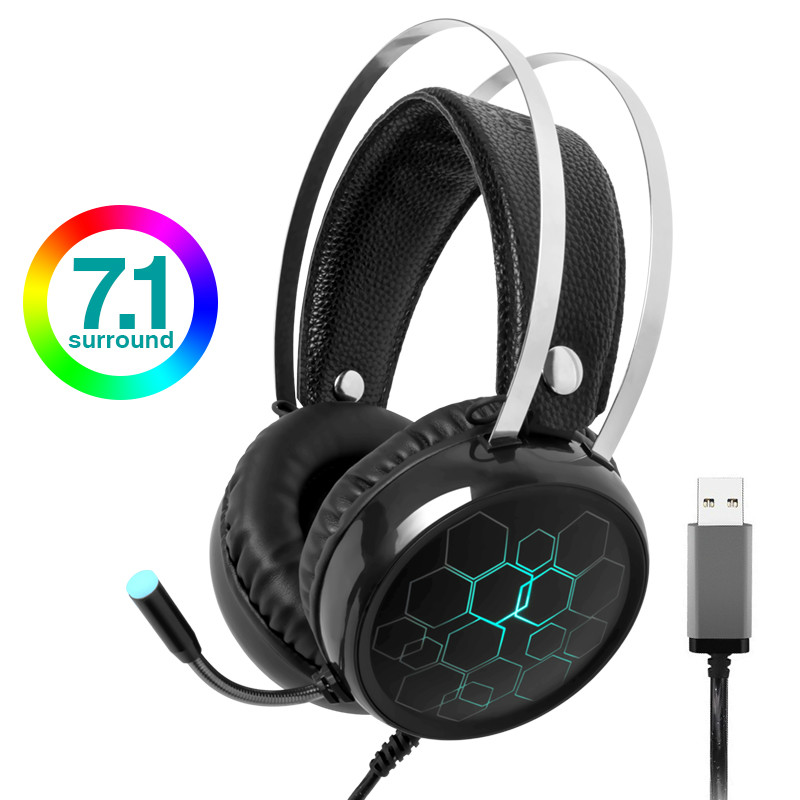 <font><b>Gaming</b></font> Headphone USB Wired <font><b>Earphone</b></font> 7.1 surround sound Stereo Surround Gamer Headset <font><b>with</b></font> <font><b>Microphone</b></font> for PC Computer Laptop image