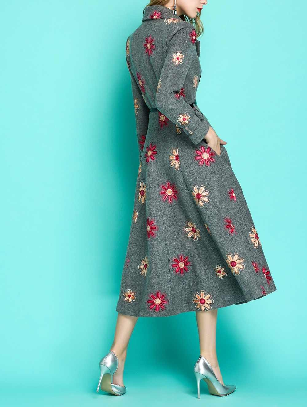 Embroidered Flower Women/'s Trench Long Coat Round Collar Warm Wool Blend Casual