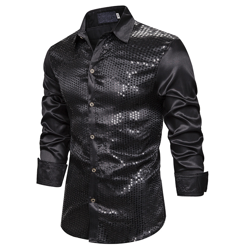 Black Sequins Patchwork Shirt Men Camisa Masculina 2019 Brand New Mens Silk Satin Dress Shirts DJ Nightclub Party Tuxedo Shirt
