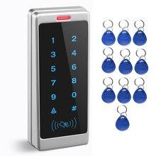 دعم 1000 بطاقة و 500 كلمة اللمس لوحة المفاتيح الدخول نظام مكتب الوصول للماء التحكم في الوصول يجاند RFID بطاقة قارئ