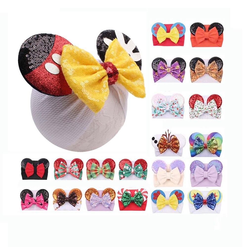 Kokardy do włosów Minnie cekiny uszy z pałąkiem na głowę kwiatowy wafel kokardy do włosów opaski do włosów DIY do włosów akcesoria do włosów dla dziewczynek dla dzieci dla dzieci opaska na głowę