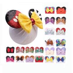 Hair Bows Minnie Sequin Ears Headband Floral Waffle Hair Bows Hair Bands DIY Hair Accessories For Girls Baby Kids Headwrap