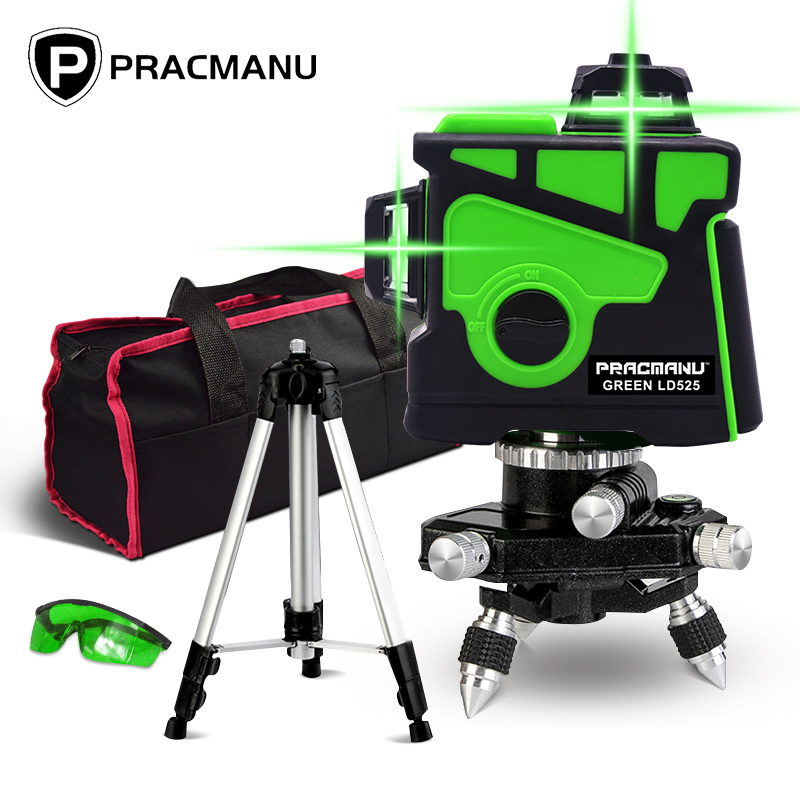 PRACMANU12 Lines 3D Green Laser Level Horizontal And Vertical Cross Lines With Auto Self-Leveling