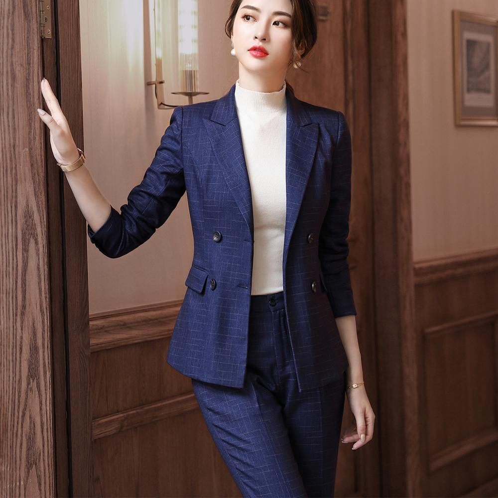 New Female Elegant Formal Office Work Wear OL Ladies Women Pant Suits 2 Two Piece Sets Blue Black Plaid Blazer Jacket With Pant