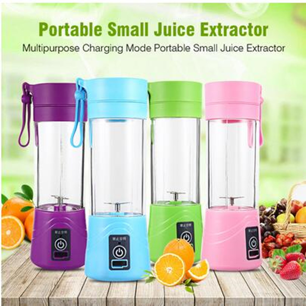 New Portable Blender Mixing 380ml Plastic Smoothie Shakes Blender Extractor Mode USB Rechargeable Automatic Juicer Cup Blend Jet