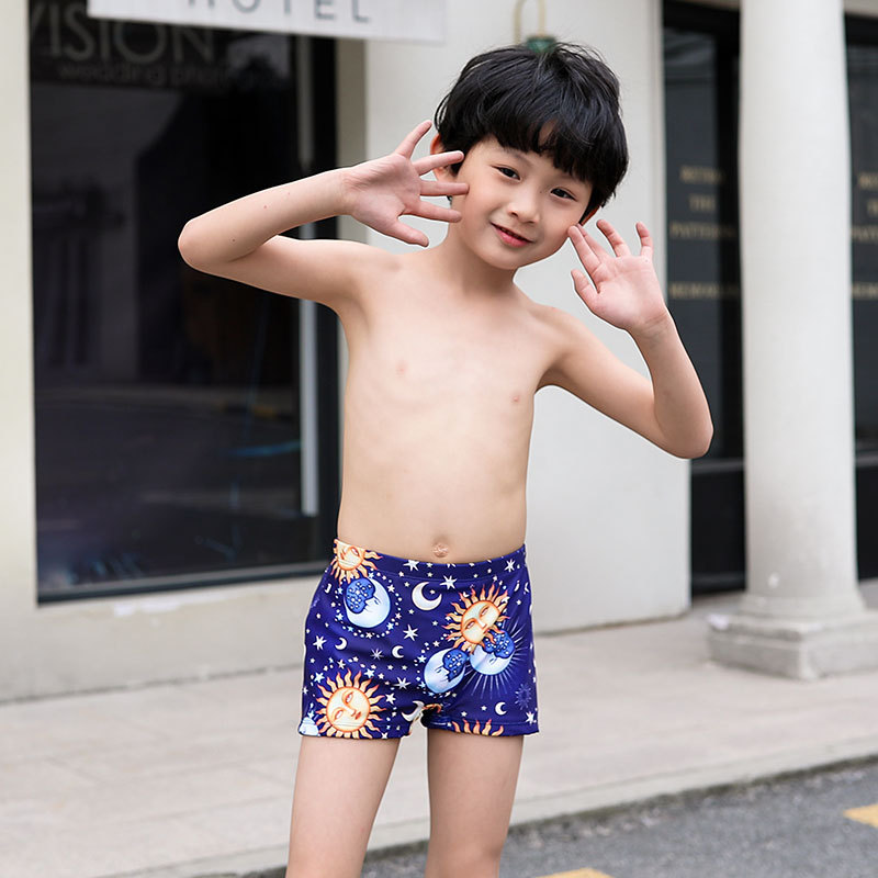 BOY'S Swimming Trunks With Swim Cap Boxer Comfortable Cartoon Children Swimming Trunks Sports Big Boy Swimming Pool