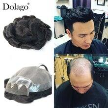 10x8 'мужской парик швейцарский кружевной с кожей парик заменяет мужские Т-системы для мужчин Toupees человеческие волосы натуральные волосы remy Dolago