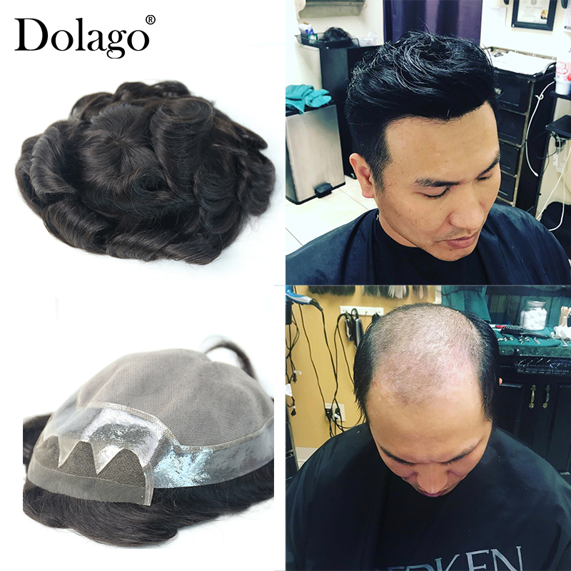 10x8' Men's Toupee Swiss Lace With Skin Toupee Replacement System For Men Toupees Human Hair 100% Natural Remy Hair Dolago