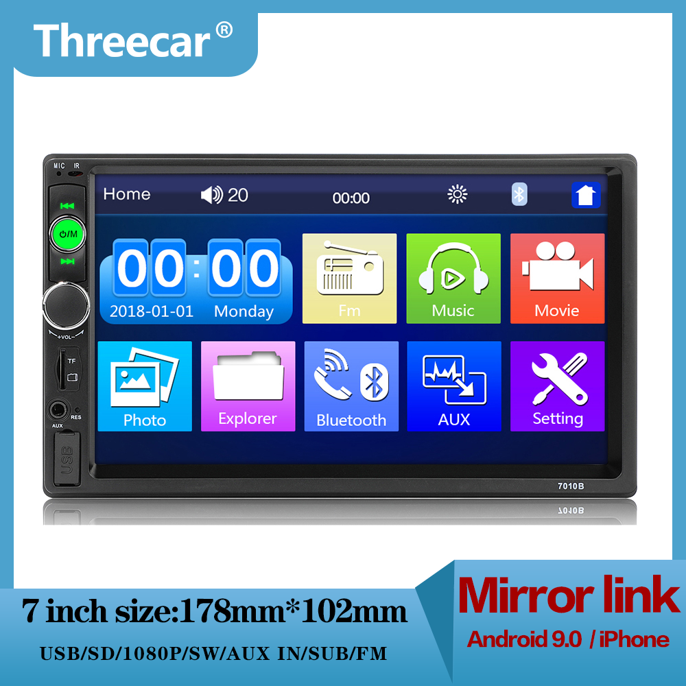 Threecar 2din 7 inch autoradio LCD Touch car radio player auto audio bluetooth Multimedia Player 7010B USB Car Stereo MP5 Player image