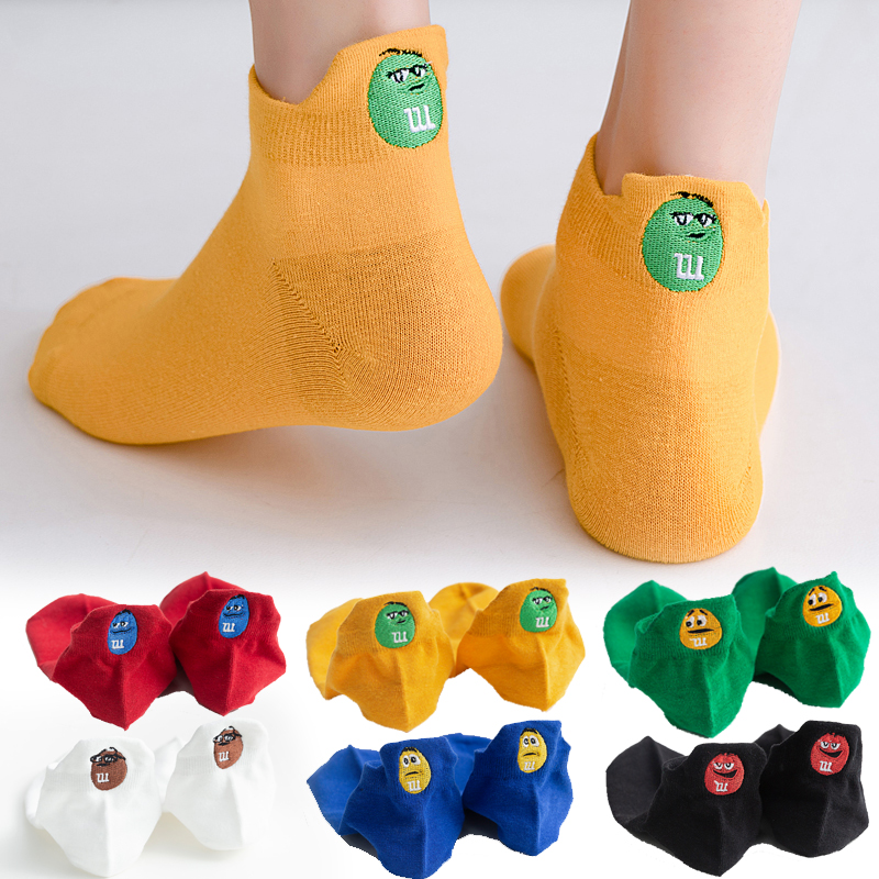 2020 New Arrivals Embroidered Expression Funny Women Socks Low Crew Kawaii Ankle Socks Women 1 Pair Dropshipping Suppliers