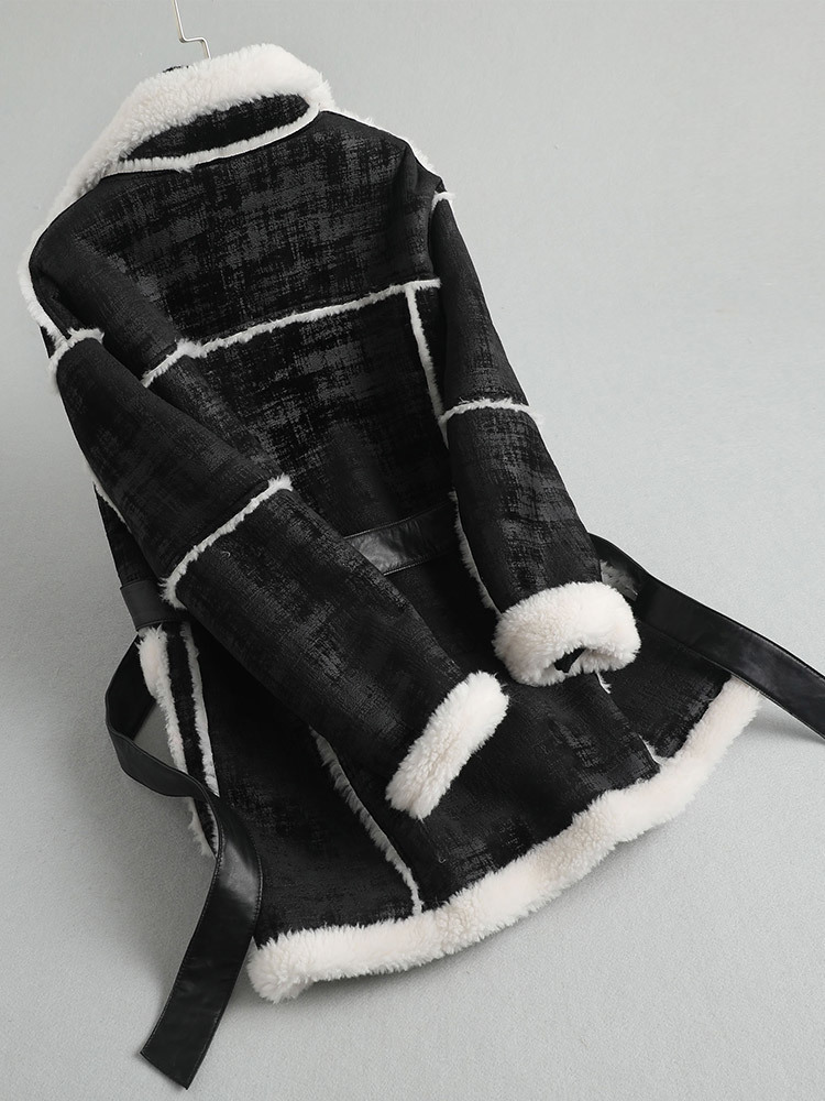 Fur Real Coat Female Faux Leather Jacket 2020 Winter Jacket Women 100% Wool Coats And Jackets Women Korean Outerwear MY S S