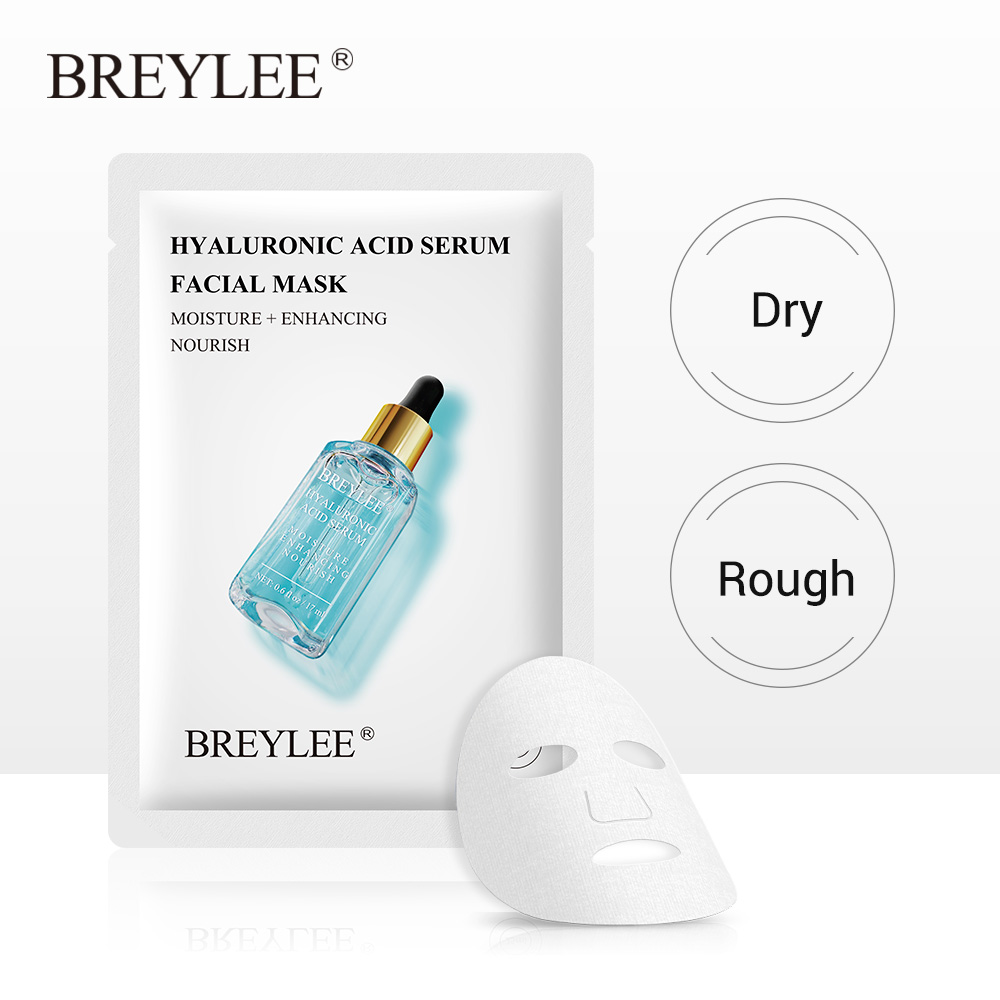 BREYLEE Face Sheet Mask Hyaluronic Acid Serum Moisturizing Anti-Aging Facial Skin Care Essence Peel Off Mask Oil Control 1pcs