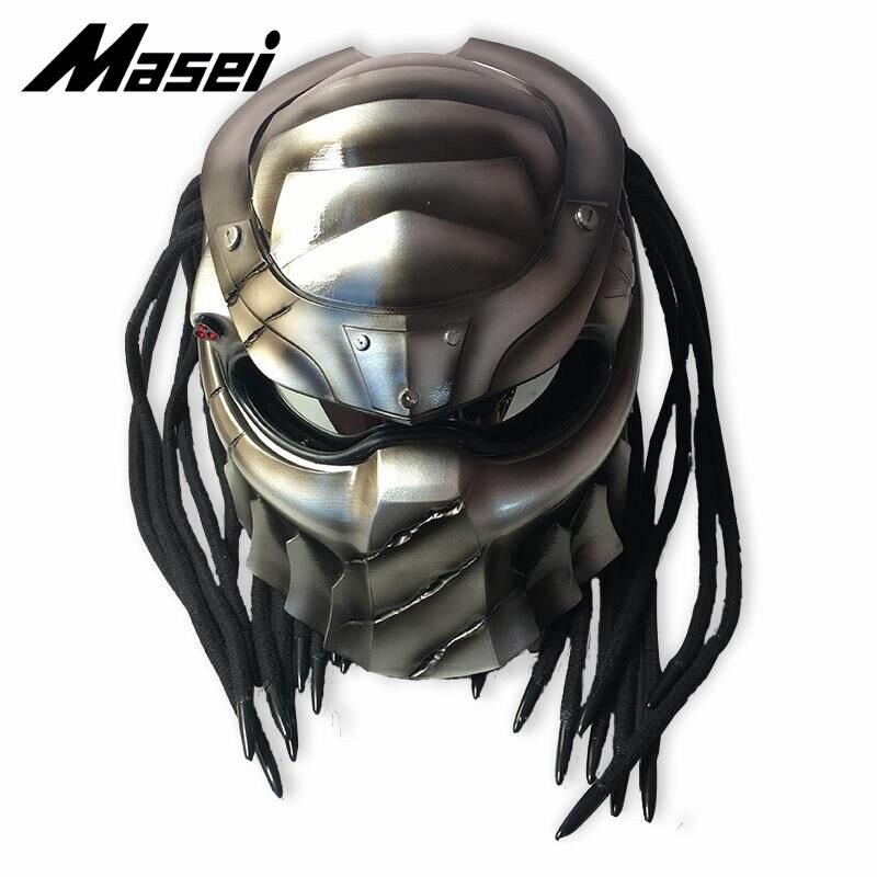 Masei 2019 nouveau prédateurs casque flexible bande éclairage voiture-style masque en fibre de verre moto visage complet Vintage rétro casque