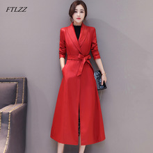 Coat Long-Jackets Genuine-Sheepskin-Jacket Women FTLZZ Autumn Winter New Outerwear Trench
