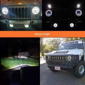 """Image 5 - 2 stücke 7 Inch Runde Halo Led Scheinwerfer für Jeep Wrangler Unlimited JK 7 """"DRL Winkel Augen led Projektor scheinwerfer"""