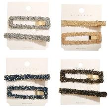 2Pcs/Set Korea Headwear Rectangular Hair Clips Fashion Woman Rhinestone Hairpins Clip Tools Barrettes wedding hair accessories
