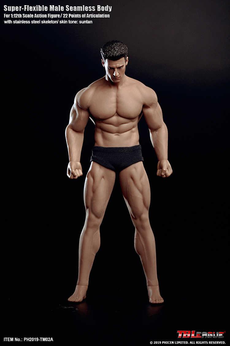 TBLeague 1/12 супер-гибкая Мужская бесшовная фигурка тела с головой Sculpt TM01A/TM02A фитнес загар кожа солдатские фигурки