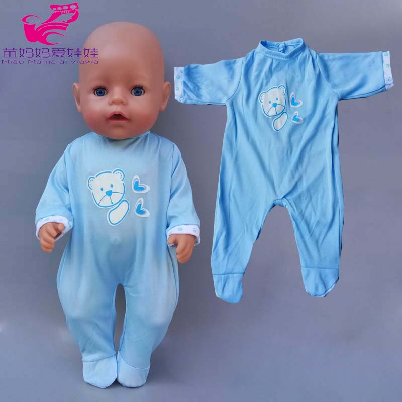 40cm 43cm Baby Doll Boy Rompers Dark Blue Clothes For Baby New Born Doll Pajama Children Girl Toys Outfits