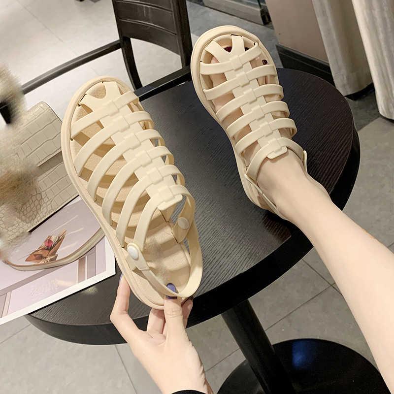 Yaz kadın jöle sandalet 2020 moda Hollow kafes tipi kapalı ayak nefes rahat PVC düz plaj platformu slaytlar ayakkabı
