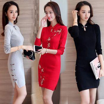 2019 sprzedaż Vestido Qipao nowoczesny chiński styl poprawy Cheongsam suknie długie druhna eleganckie młode dziewczyny rękawy codziennie tanie i dobre opinie OHCLOTHING COTTON Dzianiny Cheongsams Long sleeve S M L