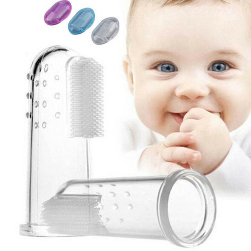 3 Colors Baby Finger Toothbrushes Infant Silicone Teeth Gum Tongue Teether Cleaner image