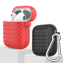 Silicone Weave Protective Case For Wireless Apple AirPods Earphones Ultra Thin Cover With Carabiner iPhone in-ear Earphone