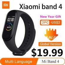 Xiaomi Mi Band 4 오리지널 최신 Xiaomi Miband 4 팔찌 3 색 심박수 피트니스 135mAh 컬러 스크린 블루투스 스마트 밴드
