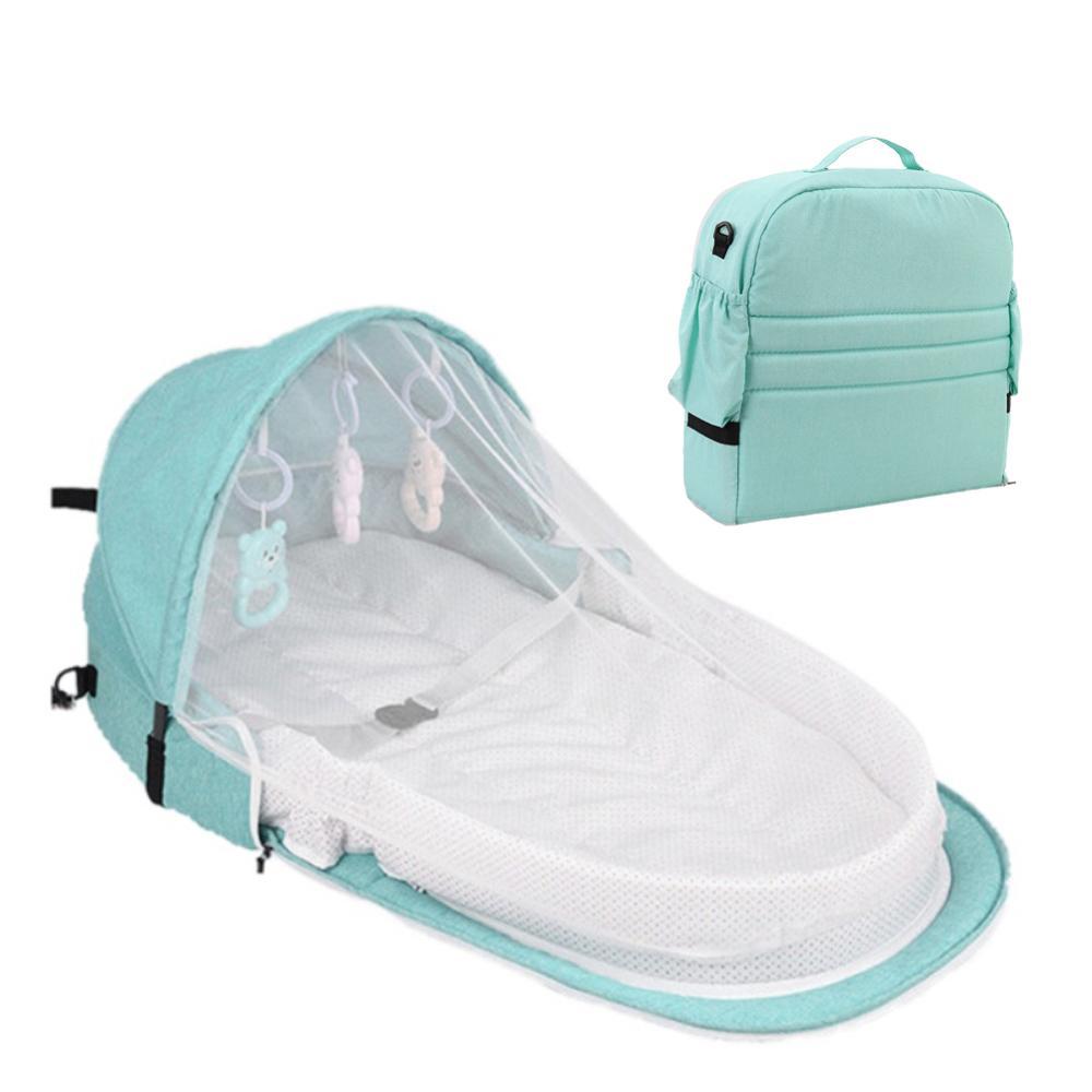 Переносная кровать с игрушками для малышей, складная детская кровать для путешествий, защита от солнца, сетка от комаров, дышащая корзина для сна для младенцев - Цвет: Цвет: желтый
