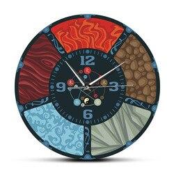 Os cinco elementos ciclo chinês wu xing feng shui relógio de parede minimalista elementos naturais yin yang arte da parede silencioso relógio de parede
