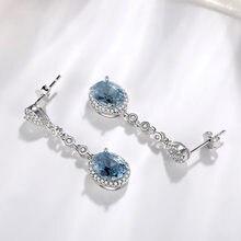 Niebieski szafir Topaz kolczyk dla kobiet 925 srebrny Bizuteria kamień aretes de mujer oorbellen spadek kolczyk dla dziewczyny orecchini