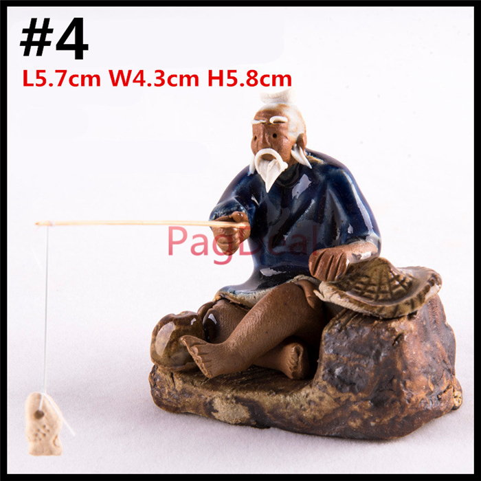Caremic Ornaments Old Man Fishing Aquarium Fish Tank Landscape Decoration Home Miniature Garden Dollhouse Decor Free Shipping