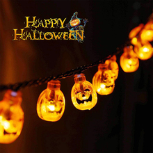 Halloween Pumpkin String Lights 20/30/50 LEDs Solar Powered  IP65 Waterproof 8 Modes for Outdoor Decorative Patio Parties