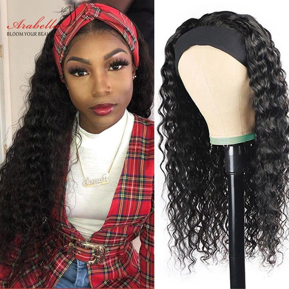 Deep Wave  Wigs With Headband  Hair Full Machine Made Wig  Arabella Hair Glueless Wig 5