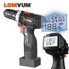 LOMVUM Cordless Trapano Digitale 25V Potente Trapano Elettrico Cacciavite 110v/220V Ricaricabile Indicatore di Alimentazione Dello Schermo Carry box