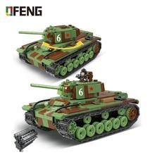 WW2 Military Soviet Union KV-1 Tank Building Blocks Military WW2 Tank army Soldier Weapon gun Bricks Toys For children Gifts printio soviet tank