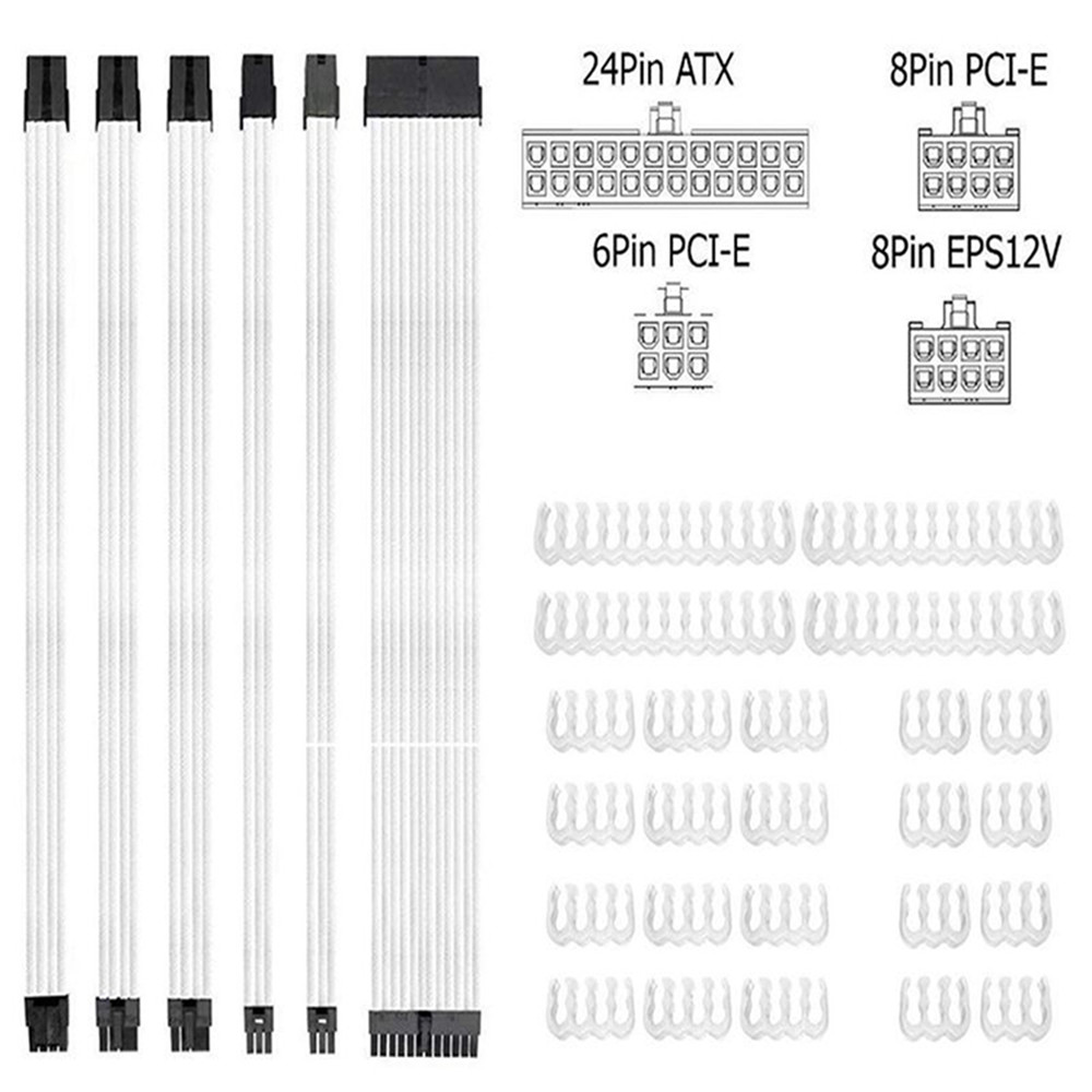 Braided ATX Sleeved Cable Extension Kit for Power Supply Cable Kit,PSU Connector
