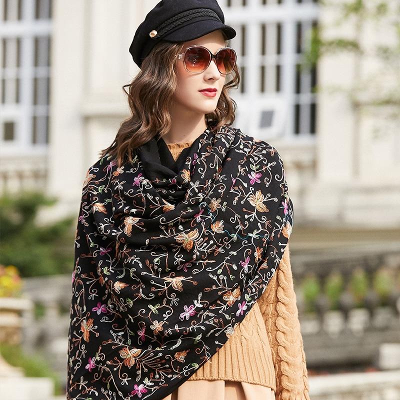 Laine femmes écharpes étoles élégant Carf chaud châle Bandana écharpe de luxe marque musulmane Hijab plage couverture visage bouclier Foulard