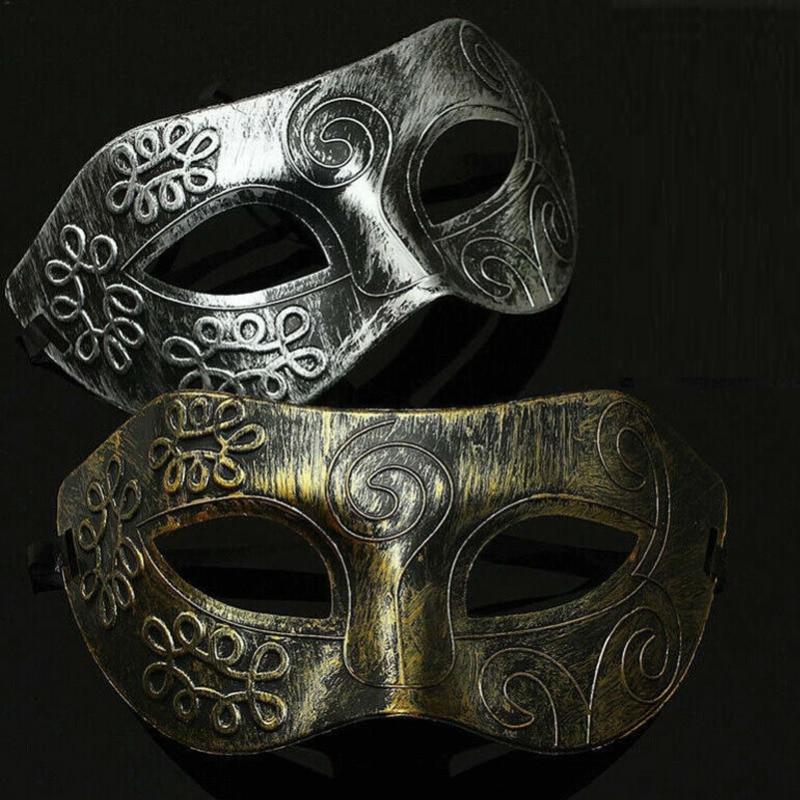 Men Ancient Greek Roman Warriors Masquerade Mask Halloween Silver Gold Burnished Antique Ball Mask