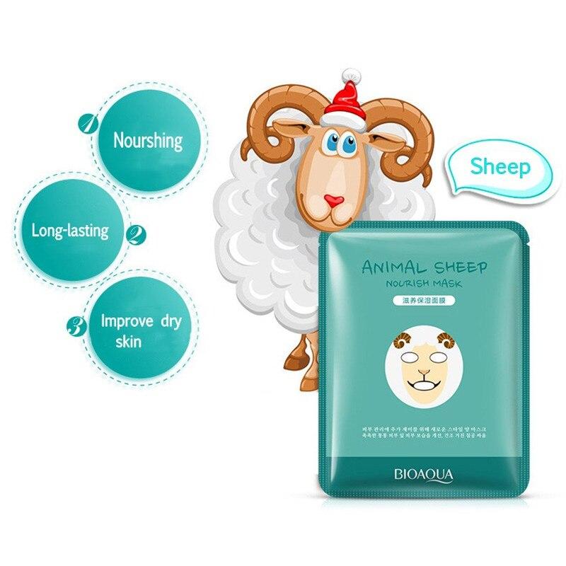 BIOAQUA 1 шт. уход за кожей Овцы/панда/собака/Тигр маска для лица милые маски для лица с изображением животных глубокое увлажнение контроль масл...