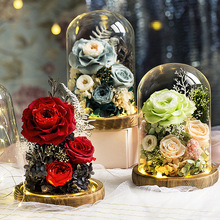 Eternal Flower Handmade Preserved Real Rose Glass Cover Holder Immortal Flowers Valentines Day Birthday Gifts Wedding Supplies