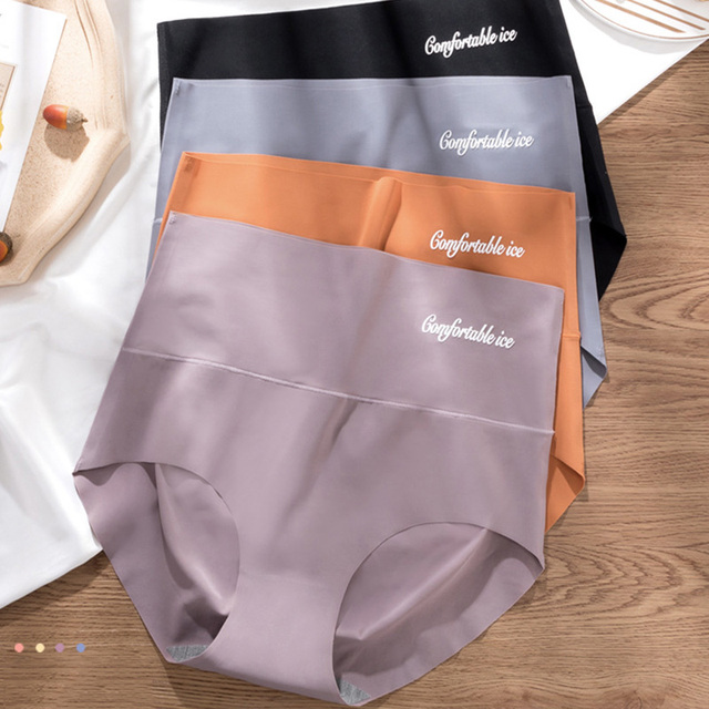 4pcs/lot Sexy Women Panties Ice Silk Briefs Seamless Underwear High Waist Pants Comfort Lingerie Female Underpants Thongs