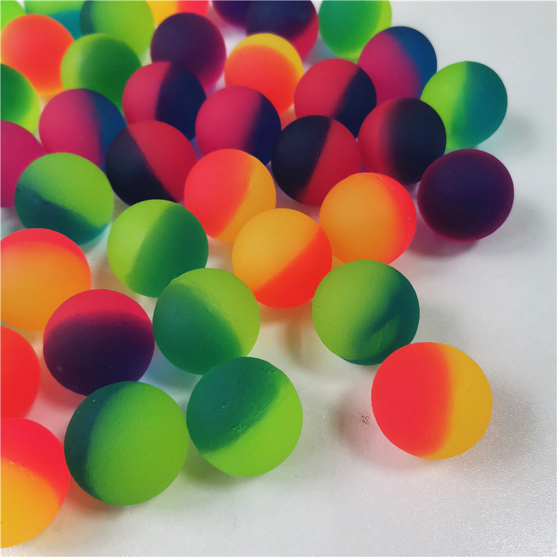 2.5cm Double-color Gashapon Rubber Bouncing Bouncy Balls Jumping Matte Surface Outdoor Sports Funny Toys For Kids
