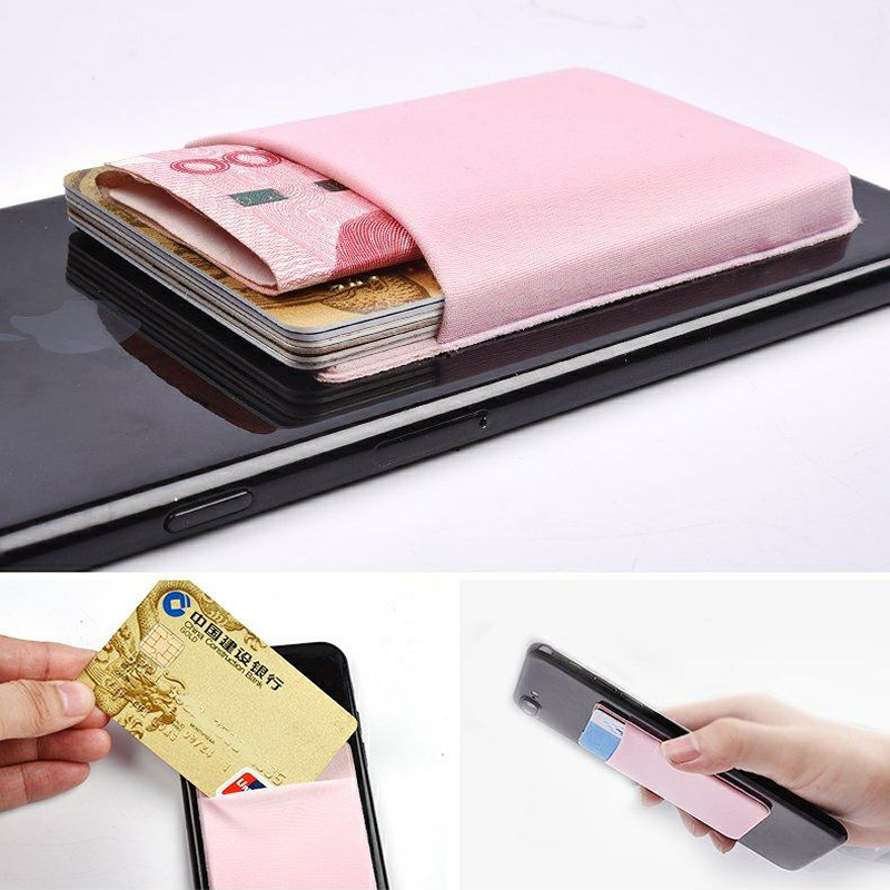 Fashion 3M Elastic Lycra Cell Card Holder Phone Wallet Case Business Credit ID Card Holder Women Men Pocket Stick Adhesive