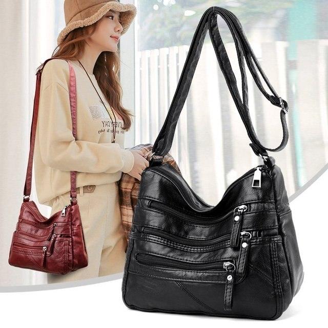 High Quality Women's Soft Leather Shoulder Bags Multi-Layer Classic Crossbody Bag Luxury Designer Handbag and Purse 2