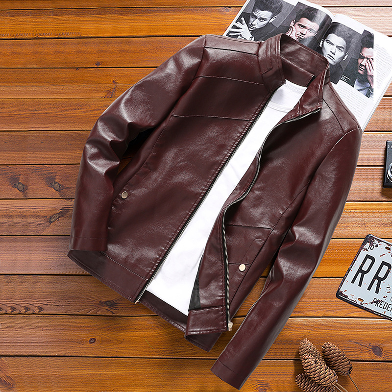 Spring And Autumn New Style Stand Collar Solid Color PU Leather Washing Slim Fit Leather Coat Large Size Casual Leather Jacket