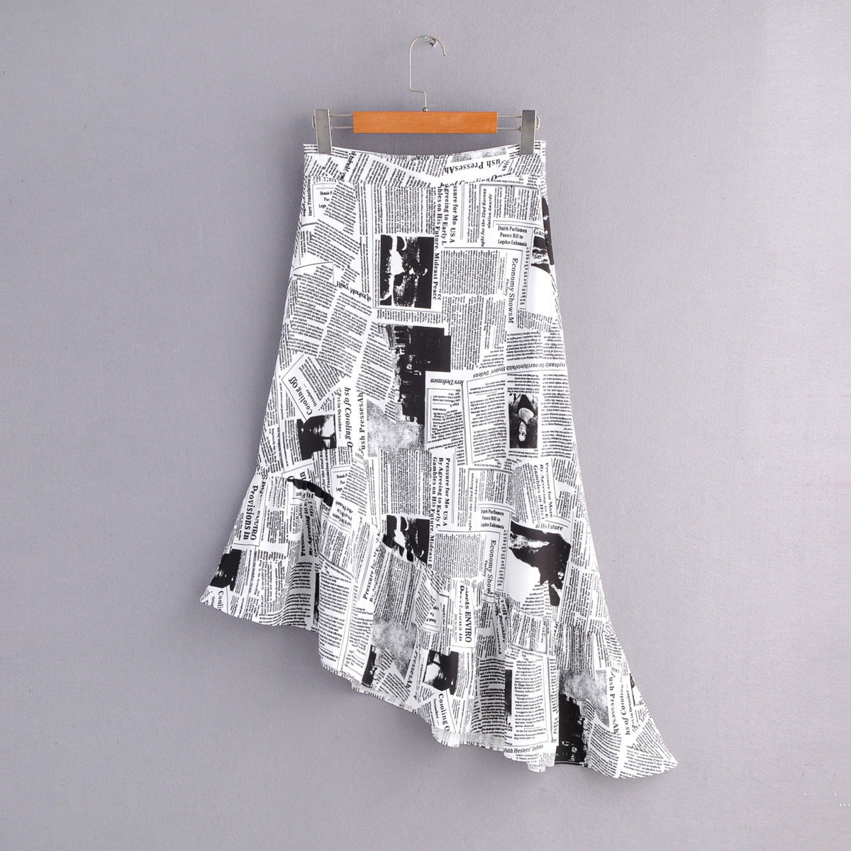 Western Style 2019 Autumn Clothing New Style WOMEN'S Dress Fashion Casual Retro Newspaper Printed Irregular Hem Skirt